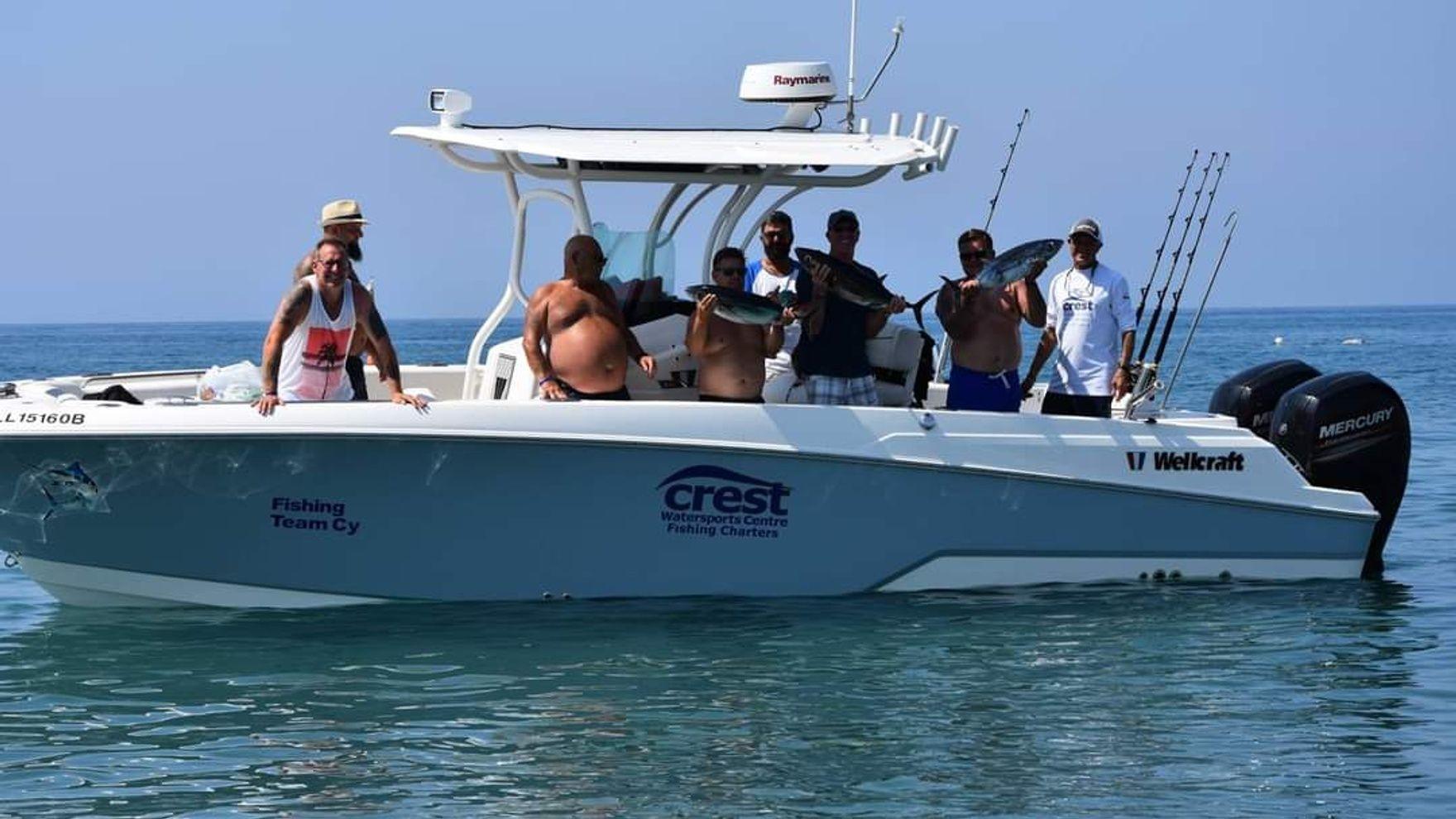 Рыбалка на тунца на моторной лодке на Кипре